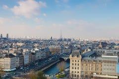 Visión desde Notre Dame de París Foto de archivo libre de regalías