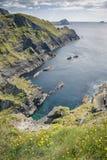 Visión desde Reencaheragh a la isla de Skellig foto de archivo