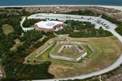 Visión desde un aeroplano del pie Macon, del nc y del Océano Atlántico imágenes de archivo libres de regalías