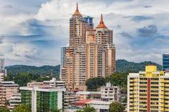 Visión desde un rascacielos sobre ciudad de Panamá foto de archivo
