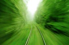 Visión desde un tren expreso en velocidad Foto de archivo