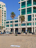 Visión desde una playa a Tel Aviv Foto de archivo
