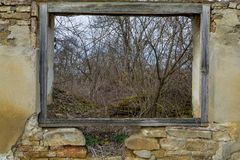 Visión desde una ventana de madera de una casa vieja de la ruina cerca del bosque Fotos de archivo