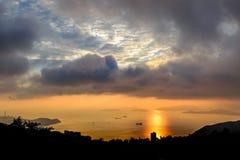 Visión desde Victoria Peak en la puesta del sol Fotografía de archivo