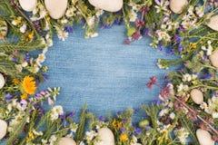 Visión directa, fondo del dril de algodón en el centro, flores salvajes en el contorno de la superficie de la mezclilla Copie el  foto de archivo libre de regalías