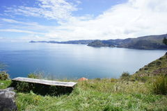 Visión el lago Titicaca Copacabana Bolivia Foto de archivo