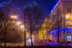 Visión en la calle de Vodnikova de rey Tomislav Square durante celebraciones de la Navidad, Zagreb, Croacia Fotografía de archivo libre de regalías