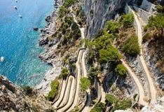 Visión encendido vía Krupp de Augustus Gardens, isla de Capri imágenes de archivo libres de regalías