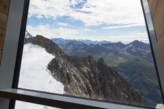 Visión espectacular para montar el macizo de Blanc a partir del observati de 360 grados Imágenes de archivo libres de regalías