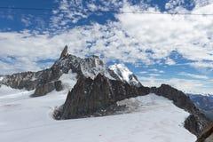 Visión espectacular para montar el macizo de Blanc a partir del observati de 360 grados Fotos de archivo libres de regalías