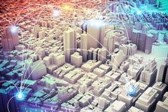 Visión futurista de la ciudad representación 3d Fotografía de archivo