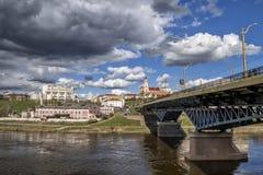 Visión hacia centro de ciudad de Hrodna Imagen de archivo libre de regalías