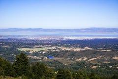 Visión hacia Redwood City, Silicon Valley, San Francisco Bay Area, California fotos de archivo