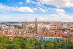 Visión impresionante sobre la ciudad vieja de Burgos, España, foto de archivo libre de regalías