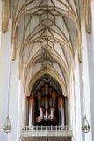 Visión a largo plazo del techo de la cámara acorazada de la costilla en iglesia Fotografía de archivo