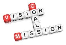 Visión, misión, metas Imagen de archivo