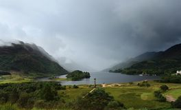 Visión panorámica alrededor del monumento de Glenfinnan Fotos de archivo libres de regalías