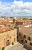 Visión panorámica, ciudad medieval, Caceres, Extremadura, España Foto de archivo libre de regalías
