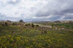Visión panorámica con el cementerio musulmán viejo en Cappadocia fotos de archivo libres de regalías