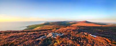 Visión panorámica desde Cronk Arrey ny Laa - isla del hombre Fotografía de archivo libre de regalías