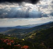 Visión panorámica desde Guijo de Santa Barbara Spain imágenes de archivo libres de regalías