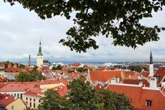 Visión panorámica desde la altura de la ciudad vieja de Tallinn Imagen de archivo