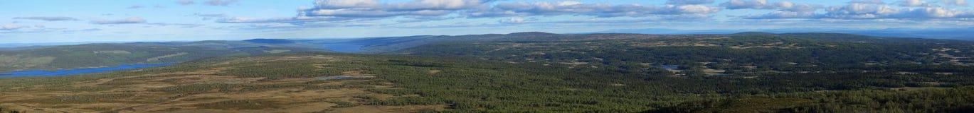 Visión panorámica desde la montaña sueca Ansaett Fotos de archivo libres de regalías