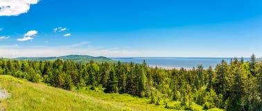 Visión panorámica desde la perspectiva cerca de la bahía de Fundy en Canadá fotografía de archivo
