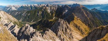 Visión panorámica desde Reither Spitze, Austria Foto de archivo libre de regalías