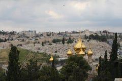 Visión panorámica el monte de los Olivos, iglesia ortodoxa de Mary Magdalene Jerusalem, Israel foto de archivo