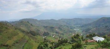 Visión panorámica en las montañas de Virunga Imágenes de archivo libres de regalías