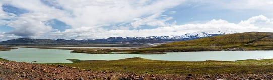 Visión panorámica en los llanos islandeses Fotografía de archivo libre de regalías