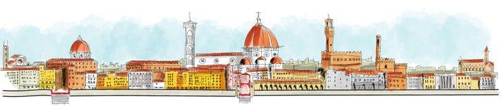 Visión panorámica Florencia, Lungarno, edificios e iglesias libre illustration