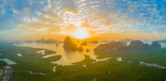 Visión panorámica imponente en Samed Nang ella punto de vista Fotos de archivo libres de regalías