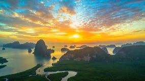 Visión panorámica imponente en Samed Nang ella punto de vista Imagen de archivo