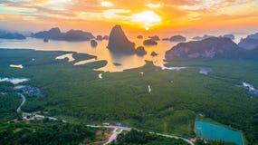 Visión panorámica imponente en Samed Nang ella punto de vista Fotografía de archivo
