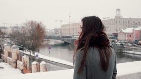 Visión posterior Muchacha morena joven atractiva que se coloca en el puente y las miradas en la ciudad nevada del invierno Fotografía de archivo