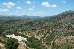 Visión rural desde la ciudad Mycenae del griego clásico, imagen de archivo libre de regalías