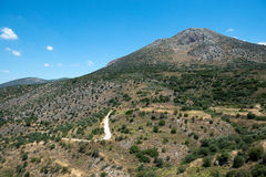 Visión rural desde la ciudad Mycenae del griego clásico, foto de archivo libre de regalías