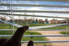 Visión rural desde la ventana Foto de archivo libre de regalías