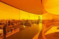 Visión sobre Aarhus por dentro de la instalación encima de Aarhus a Imagen de archivo libre de regalías