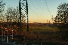 Visión sobre campo en luz de la tarde Fotos de archivo