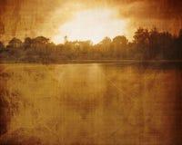 Visión sobre el lago: niebla ilustración del vector