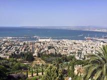 Visión sobre el puerto de Haifa Foto de archivo libre de regalías
