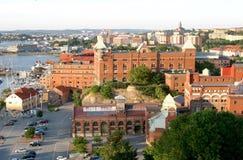 Visión sobre Göteborg sueco y el canal Foto de archivo libre de regalías