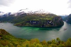 Visión sobre Geirangerfjord, Noruega Fotos de archivo
