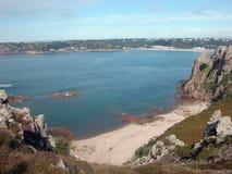 Visión sobre la bahía del St Breladeâs, Jersey Imagen de archivo