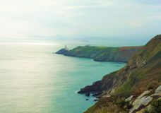 Visión sobre la bahía y el faro de Howth foto de archivo libre de regalías