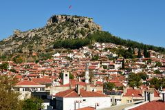 Visión sobre la ciudad de Mugla en Turquía imágenes de archivo libres de regalías
