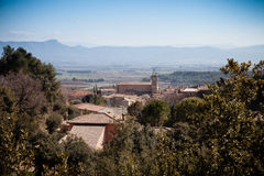 Visión sobre viñedos y beaumes de Sainte en Francia meridional Foto de archivo
